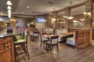 Cascades Lounge & Restaurant seating and booths