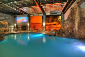 indoor pool and movie screen